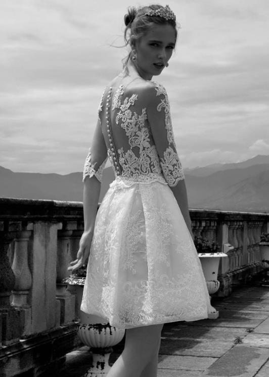 Discount Vintage Short Bohemian Wedding Dresses 2015 Sheer Half ...