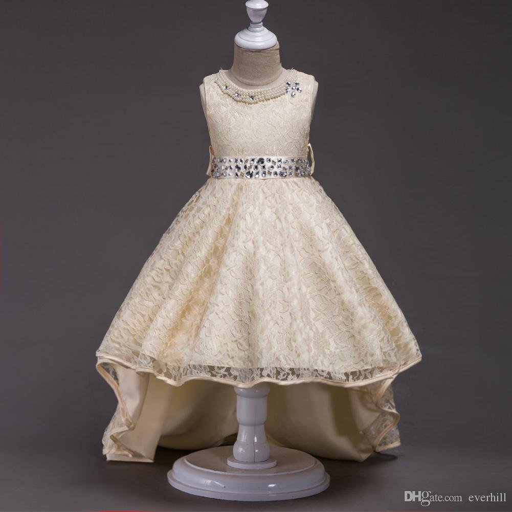 Jane Vini High Low Beaded Flower Girls Dresses for Wedding White A Line Crystal Pearls Girls Wedding Dresses Kids Party Gown Communion Dress