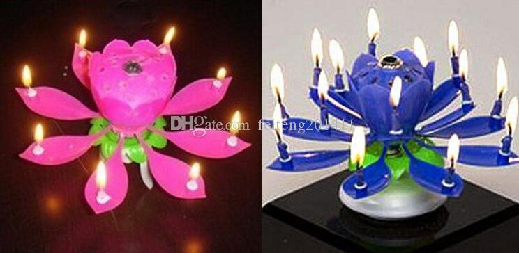 Birthday Candle Music Candles Party Decoration 2015 Lotus Flower