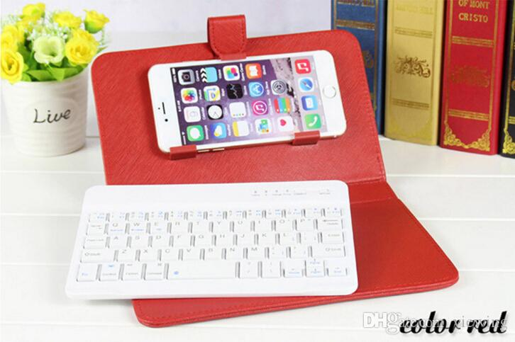 UltraThin Wireless Bluetooth Keyboard Leather Case Cover With Stand for iPhone 6 6s 6 plus Samsung cellphone Keyboard Stand Case