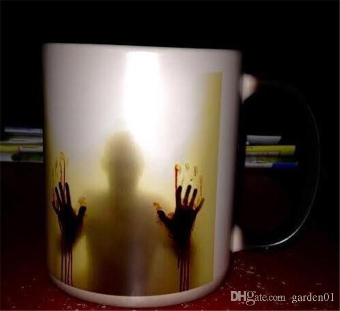 Moda sıcak yürüyüş ölü Zombi Kahve Kupa kupası Isıya duyarlı Sihirli Geçişin Renk Değiştirme Çay Kupa Dönüşüm G158
