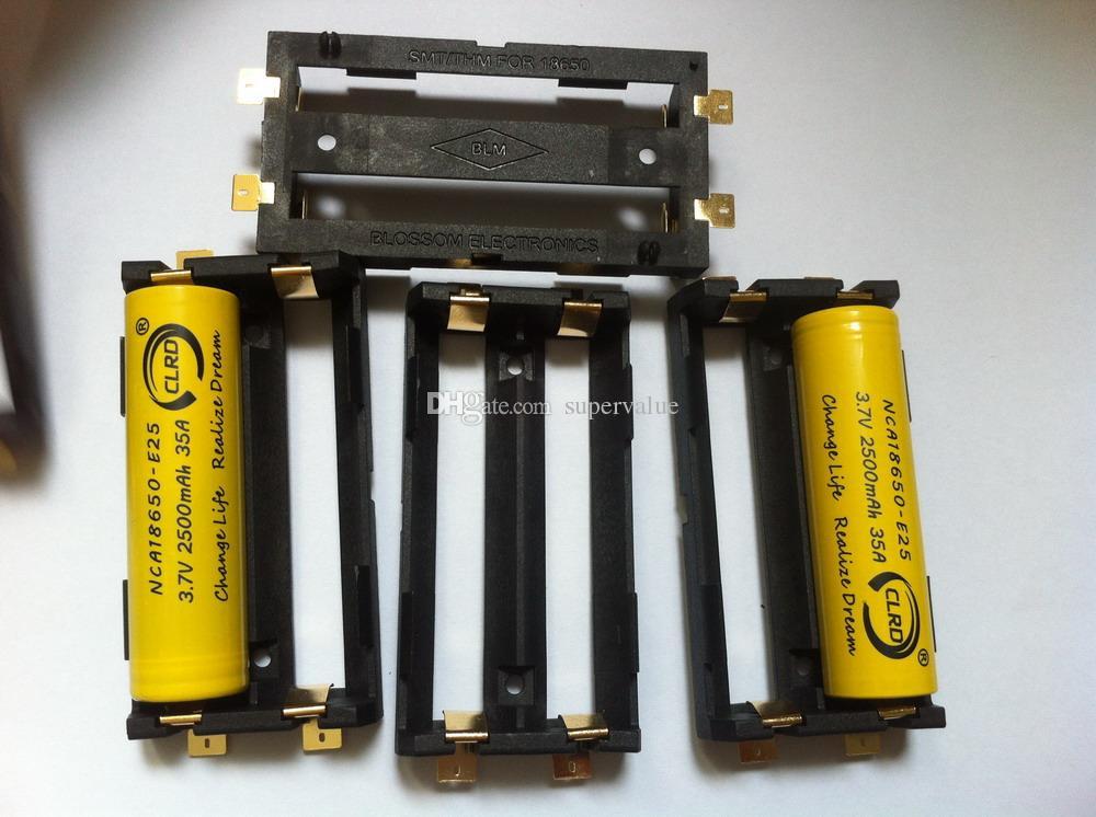 En iyi kalite SMT pil tutucu DIY Kutusu Mod li iyon ni-mh lifepo4 18650 pil tutucu çift 2 * SMT sekmeleri ile 18650 pil kızak