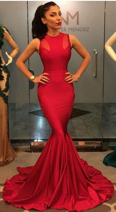long red mermaid prom dresses sexy prom dress 2016 o neck