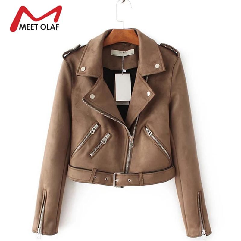6fc23db5b 2019 Wholesale 2017 Women Suede Leather Jackets New Fashion Short ...