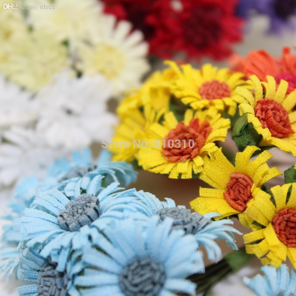 Wholesale 2cm head multicolor handmade mulberry paper daisy flower wholesale 2cm head multicolor handmade mulberry paper daisy flower artificial sunflowers paper flowers video flower strand flower handmade paper online with izmirmasajfo