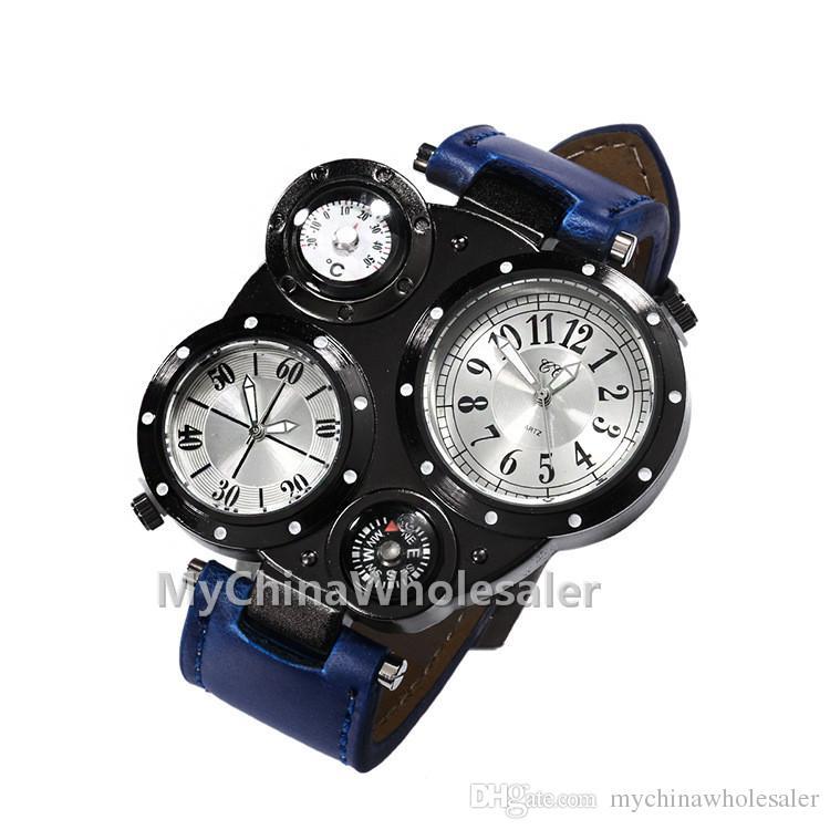 남자는 럭셔리 스포츠 남성 가죽 시계 패션 석영 손목 시계 방수 디자인 더블 듀얼 디스플레이 2 지역 시간과 온도를 시계