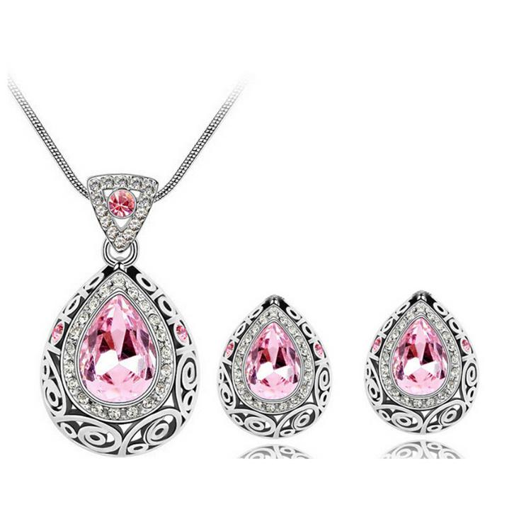 Earrings and Necklace Set for Wedding Austrian Crystal Women Jewelry Sets Tear Drop Design Fashion Jewelry Set 4191