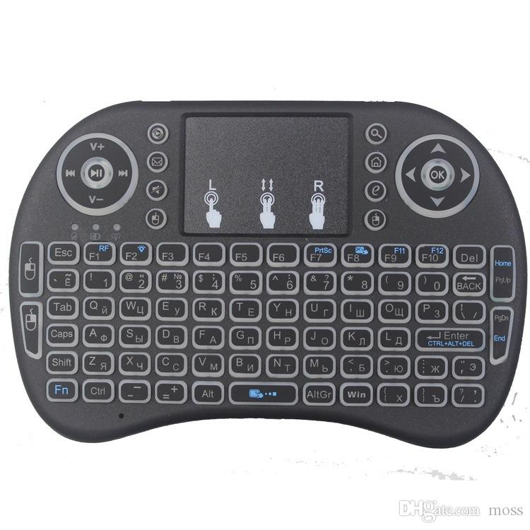 Air Mouse Remote Rii Mini I8 Android مربعات التلفزيون لوحات المفاتيح الخلفية 3 لون الخلفية 2.4 جيجا هرتز لوحة المفاتيح اللاسلكية لالروبوت 7 صناديق التلفزيون