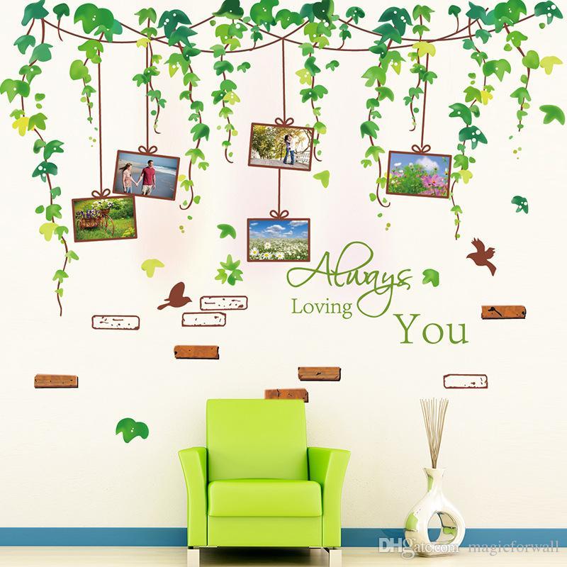 Jade Vine Adesivo Adesivo Foglie verdi con cornice Wall Art Murale Decor Sempre Amare voi Parete Quote Divano sfondo Applique da parete