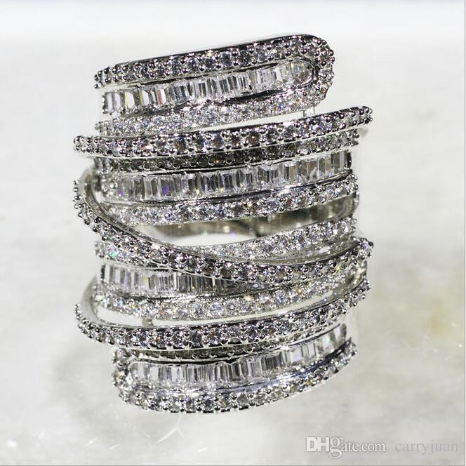 Потрясающие choucong уникальный Desgin роскошные ювелирные изделия Принцесса вырезать Белый Топаз CZ Алмаз милый широкий стерлингового серебра 925 женщин свадьба прохладный кольцо набор