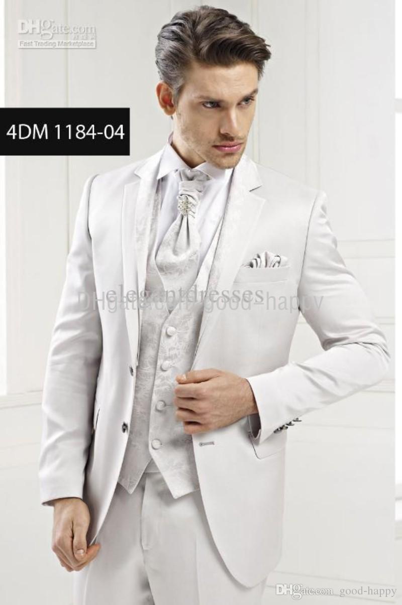 Brand New Handsome White Groom Tuxedos Groomsman Mens Wedding Dress Prom ClothingJacket Pants Tie Vest208 Notched Lapel Custom Made Wear