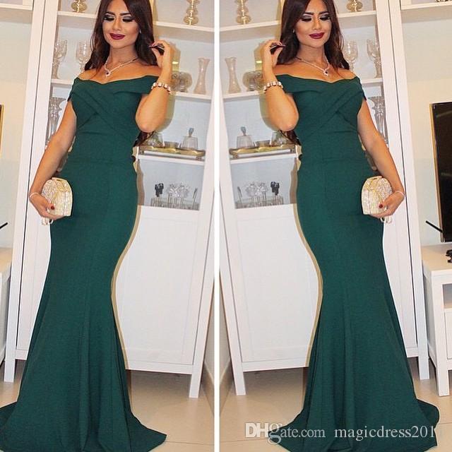 Castle Simply Elegant Evening Dresses Mermaid Off the shoulder Capped Short Sleeve Sweep Train Art Deco-inspired Neck Celebrity Dresses 2019