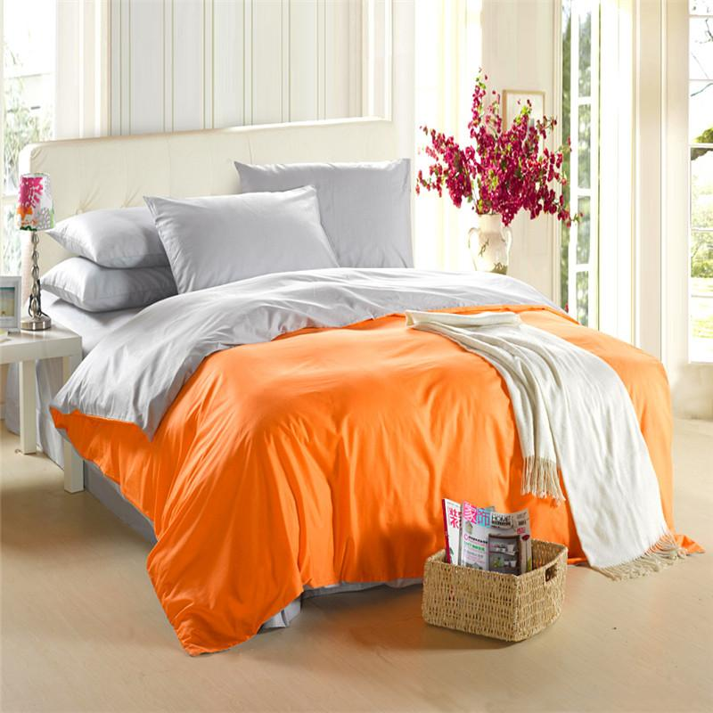 Orange Silver Grey Bedding Set King Size Queen Quilt Doona Duvet Cover  Designer Double Bed Sheet Bedspread Bedsheet Linen Cotton Modern Bedding  Sets Satin ... b84d2da59125