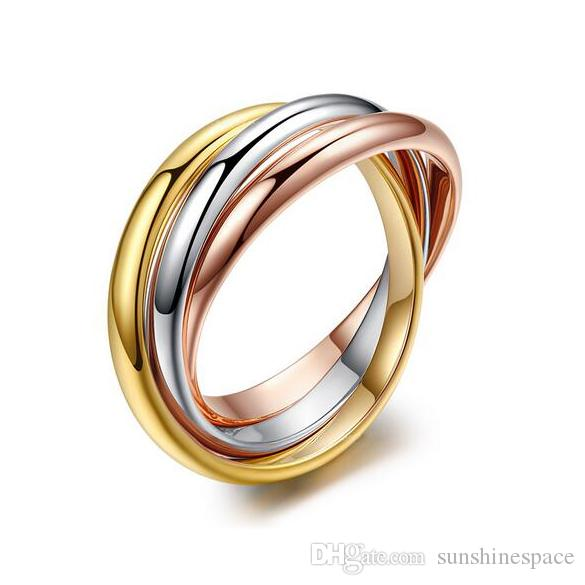 2016 Top Quality Classical 3 Rounds 18K Rose Yellow White Gold Plated Ring Fashion Jewelry Wholesale