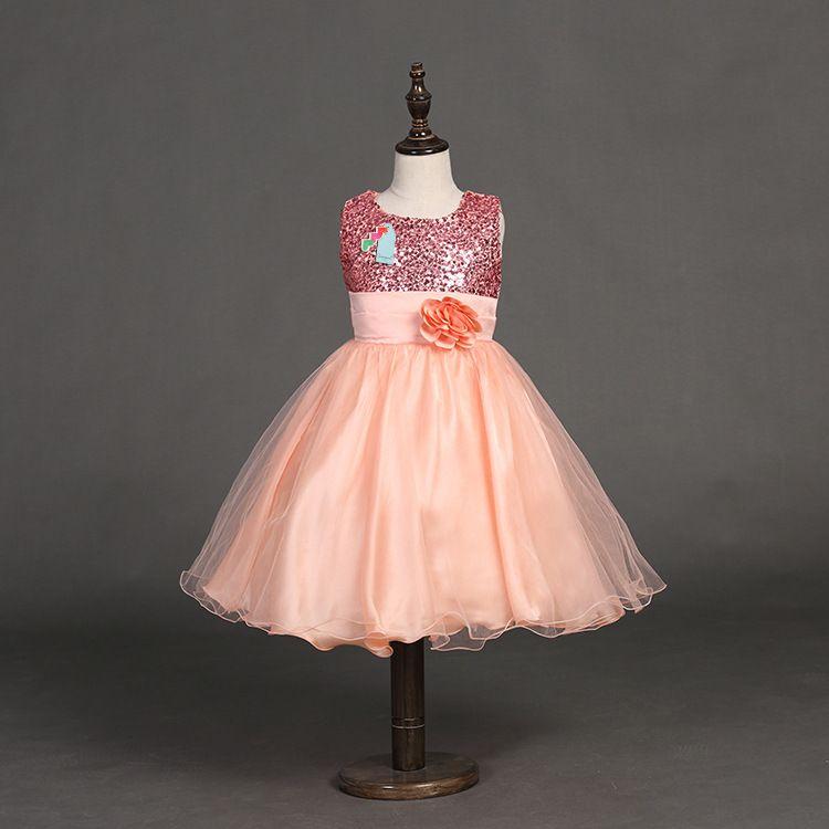 2018 verão crianças lantejoula dress meninas tutu lace flor vestidos longos princesa chiffon formais crianças vestidos de moda roupas de menina 100-170 lh03