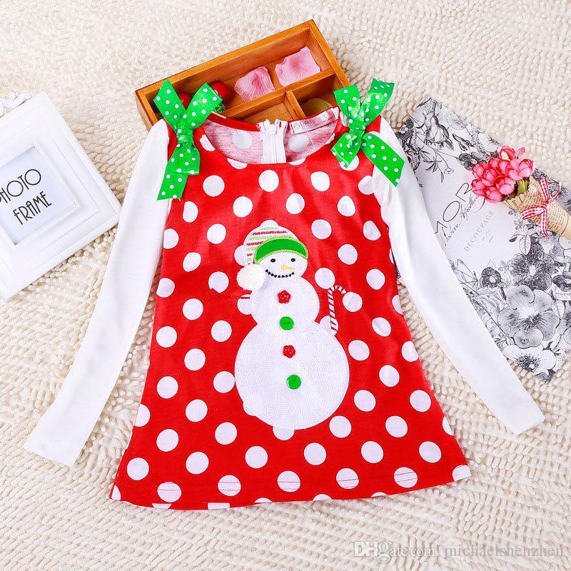 DHL 6 Дизайн девушки Рождество / Рождество кружева точка с длинными рукавами платье костюм хлопок принцесса с длинными рукавами футболки платья детская одежда B001