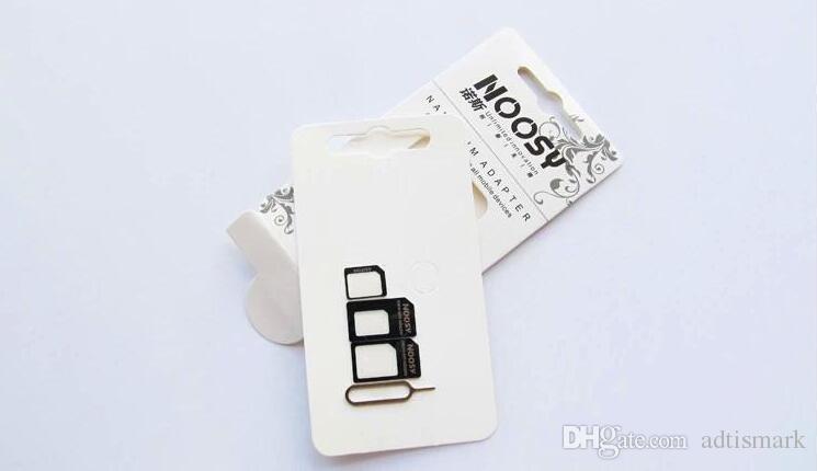 Il trasporto libero 100 pz / lotto Noosy Nano SIM Card Micro SIM Standard Adattatore Adattatore Converter Set iPhone 6/5/4 S / 4 con Eject Pin Key