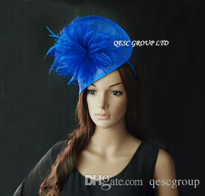 ROYAL BLUE copricapo in piume sinamay in forma SPECIALE con piume matrimonio, Kentucky Derby