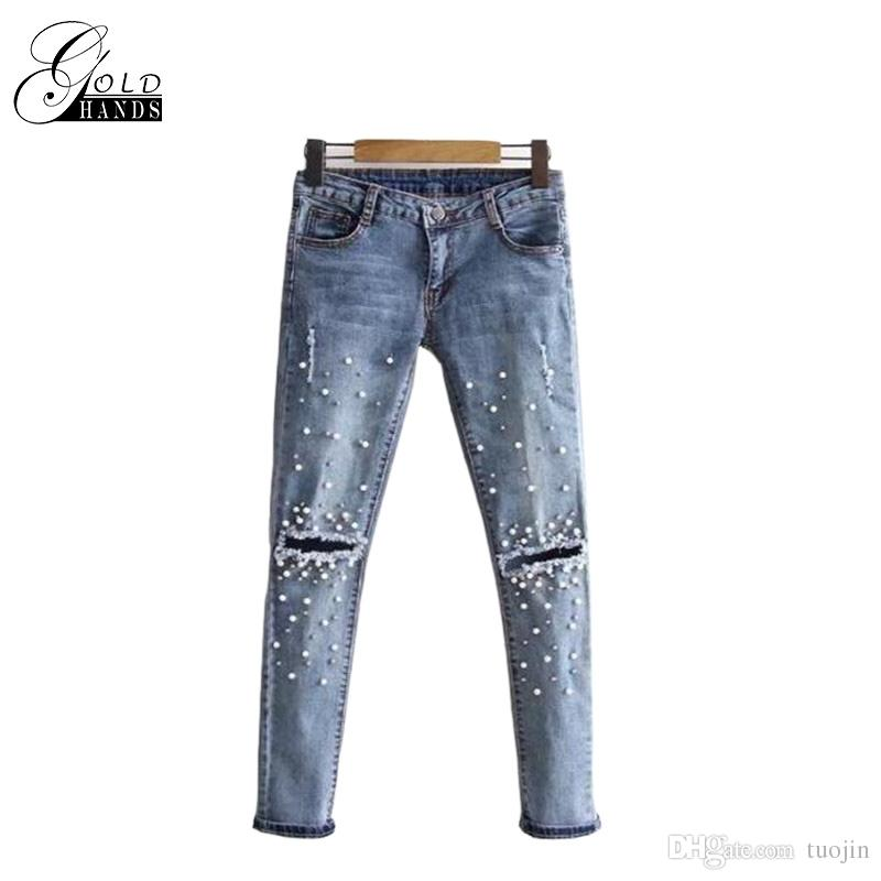 6fc00756d8b1b 2019 Gold Hands Women Ripped Jeans Women Pants Cool Denim Straight Jeans  For Girl Mid Waist Casual Slim Pencil Pants Female From Tuojin
