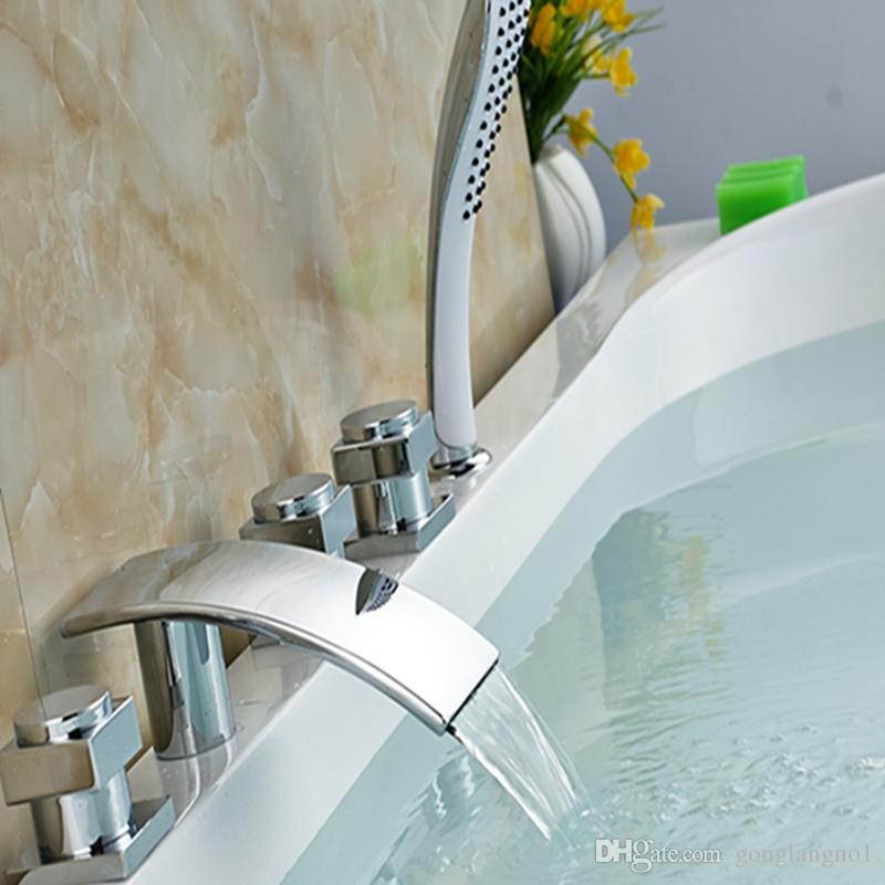 Wholesale And Retail Polished Chrome Brass Waterfall Bathroom Tub Faucet W/ Hand Shower Mixer Tap Sink Mixer Tap
