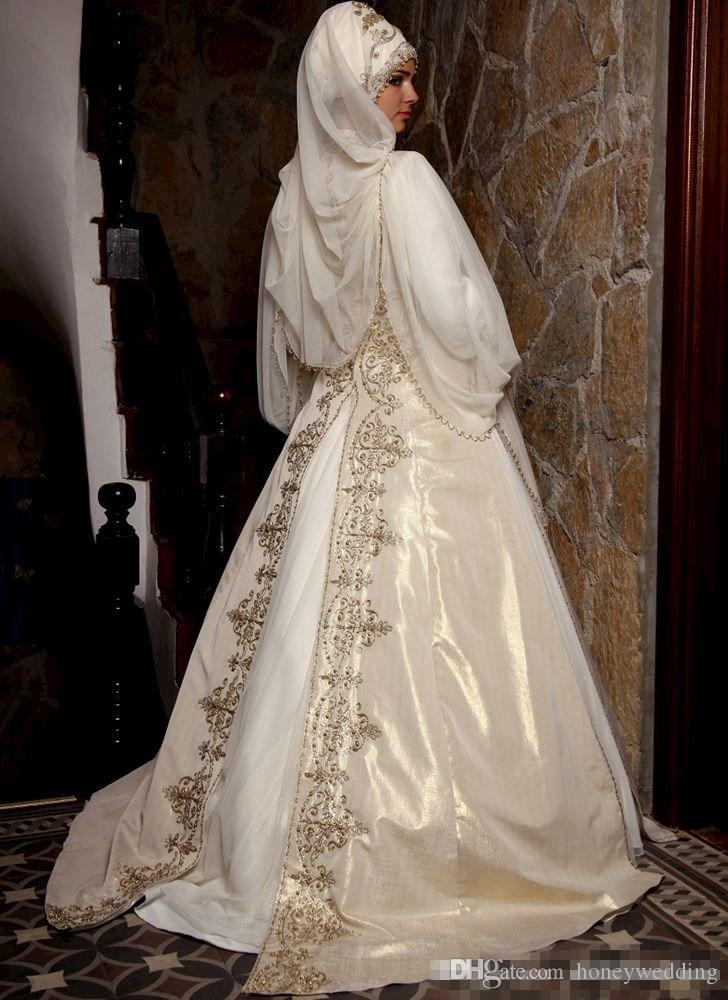 겸손한 옷 2019 아랍어 회교도 웨딩 드레스와 긴 소매 높은 목 골드 자 수 비즈 망 토와 럭셔리 브라 공 가운