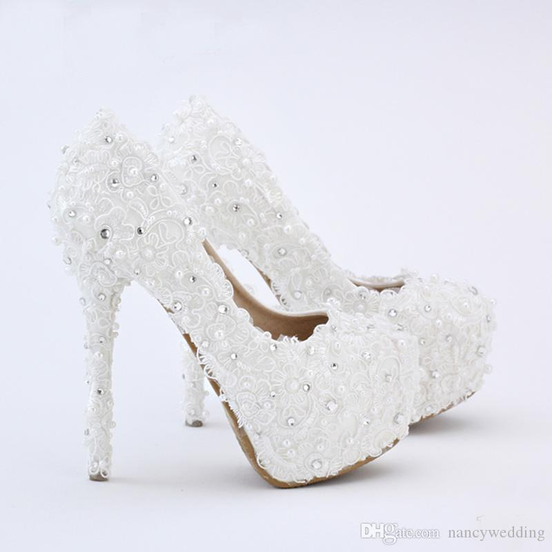 White Lace Bride Shoes Evenign Prom Bridal Dress Shoes 14cm High Heels Platform Bridesmaid Shoes Fashionable Pumps