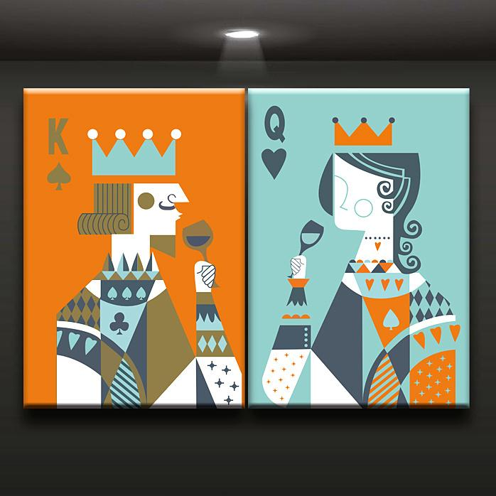 2018 Combination King And Queen Poker Canvas Printed