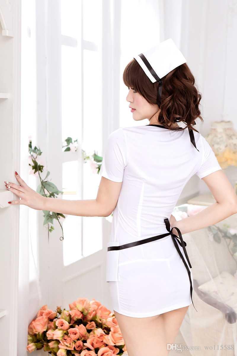 送料無料セクシーなランジェリーホワイトユニフォーム誘惑女性セクシーな看護師ウェア看護ユニフォームロールプレイ美しさ魅惑的な魅惑