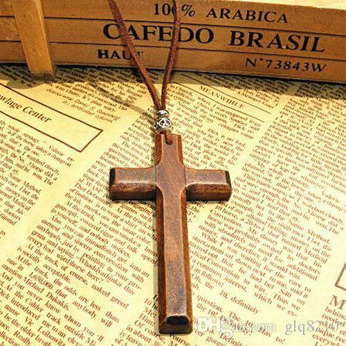 Discount wooden cross pendant necklace vintage beads leather cord sweater chain men women jewelry handmade stylish