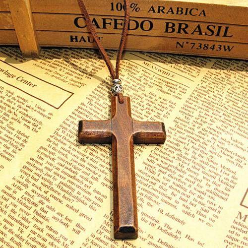 Remise perles vintage en bois collier pendentif croix cordon en cuir pull chaîne hommes femmes bijoux faits à la main de style