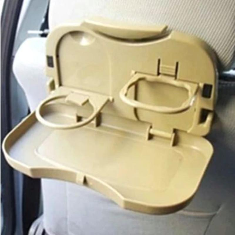 Auto Car Brown Plastic Folding Food Meal Mini Table Tray Drink Cup Holder  Car Seats Convenience