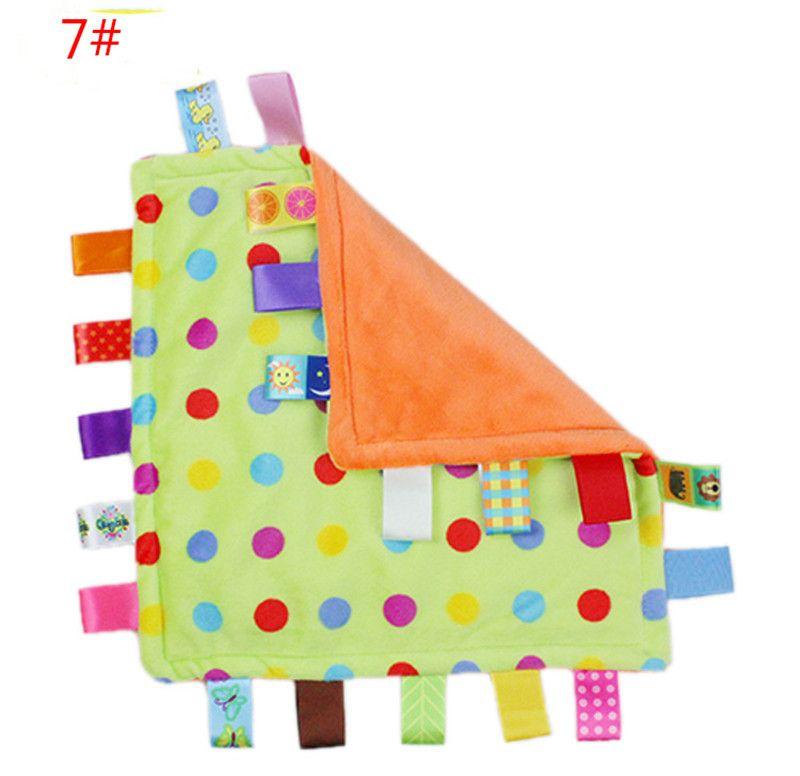 ГОРЯЧАЯ Утешительные taggies Одеяло Успокоить Полотенце Ребенка Спокойные Салфетки Младенца Детей Младенческое Одеяло Полотенца Симпатичные Мягкие Квадратные Куклы Плюшевые Игрушки TO335