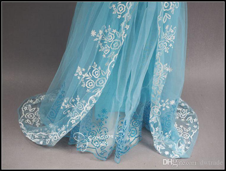 2015 girls swallow tailed short sleeve princess dresses kids girl floor length puff sleeve Cinderella party lace dress J072801# DHL FREESHIP