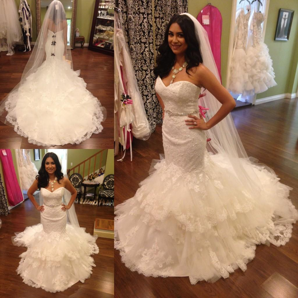 Best Wedding Gowns 2015: Charming Sexy Lace Mermaid Wedding Dresses 2015 New Real