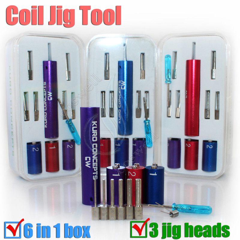 핫 판매 Master Coil Jig 6 사이즈 1 Kuro 개념 Wire Coiling Machine Tool cigs 담배 용 Koiler 키트 RDA Pre Coil Wick 권선 DHL