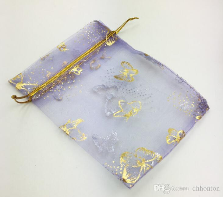 Bolso de gasa de oro de mariposa de organza / bolsa de gasa de regalo / primer bolso de la joyería / bolsa / bolsa / bolso / sobre 10 * 12cm WQ25