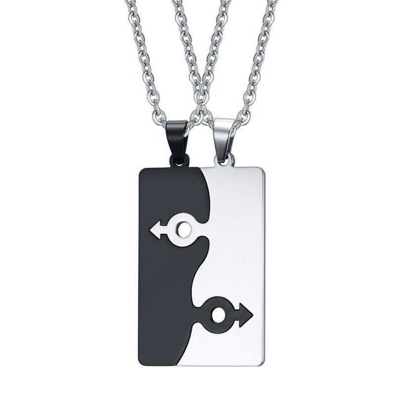 Stainless Steel Gay Puzzle Pendant Necklaces Set of 2 Connecting LGBT Domestic Partnership Lesbian Gay Marriage Free Chain