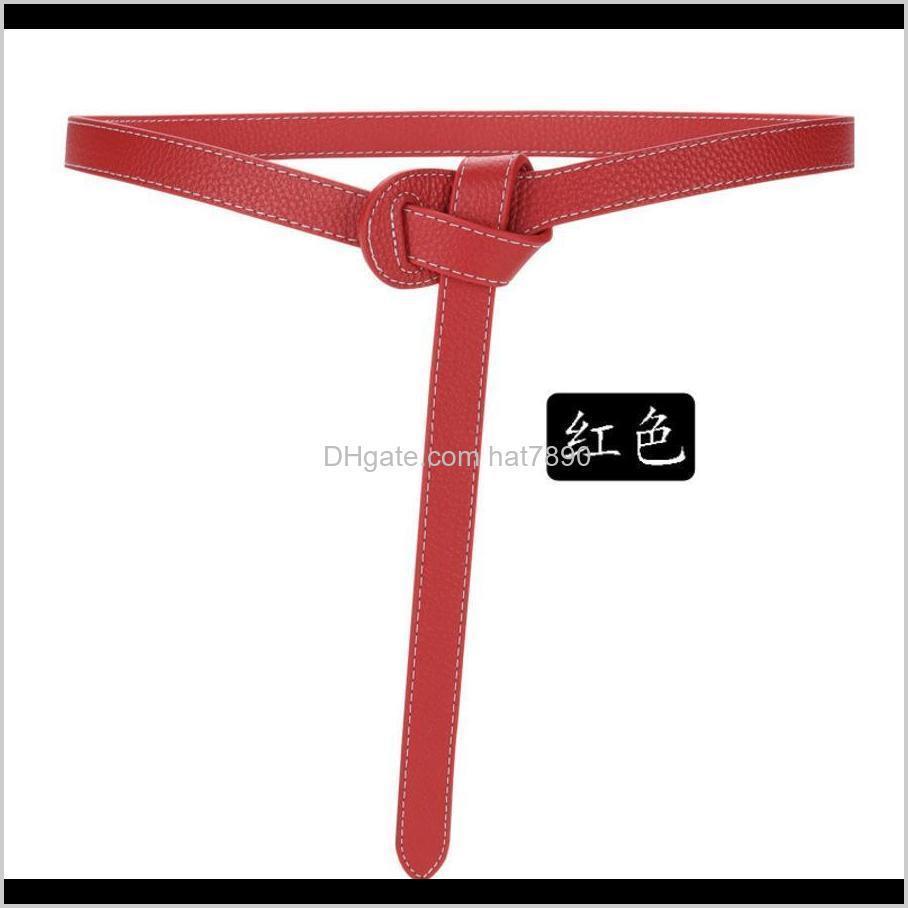 Decorative Women`s Simple Khaki Suit Fashion Versatile Soft Knot Leather Belt with Dress S5y4