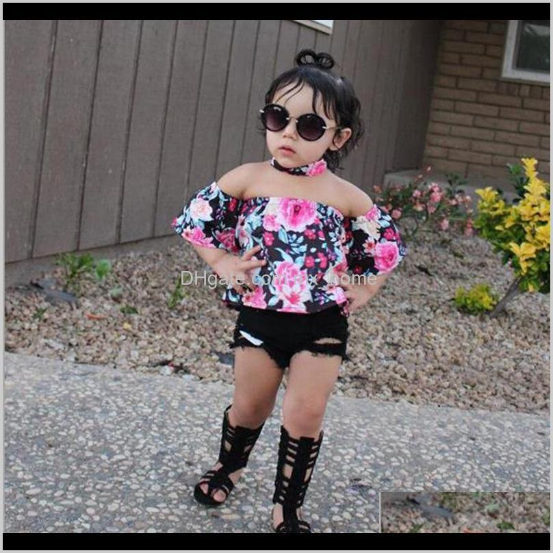 toddler baby girls clothing sets off shoulder tops shirt floral hole shorts outfits kids girl summer clothes suit