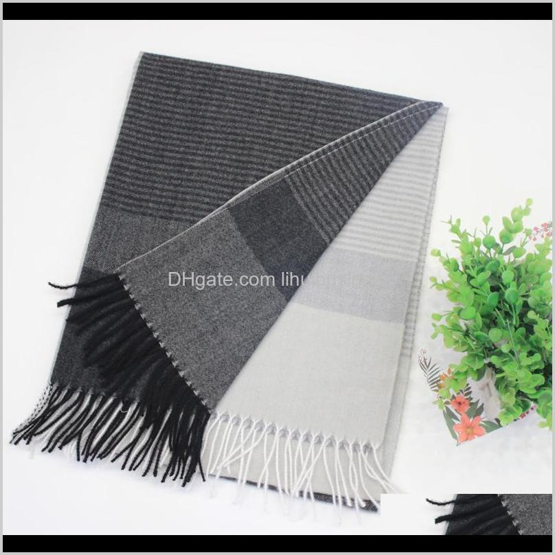 scarf women`s autumn/winter fashion ins imitation cashmere scarf women`s winter neutral male long-style stitched shawl
