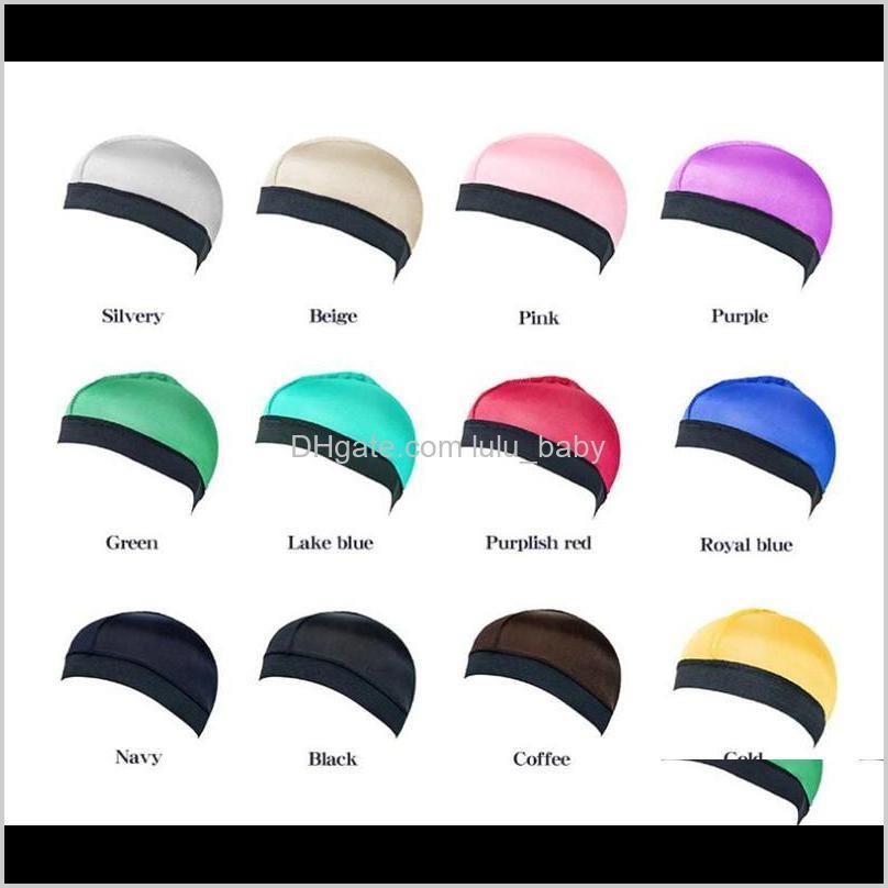 dome wave cap silk bonnet satin elastic breathable turban hat hair headwear bonnets hats for fedoras beanie for adult 10pcs