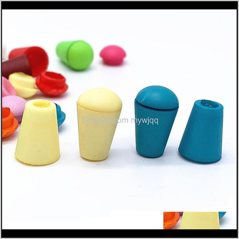200pcs colorful cord ends bell stopper with lid lock plastic toggle clip for paracord clothes bag sports wear shoe 851 v2