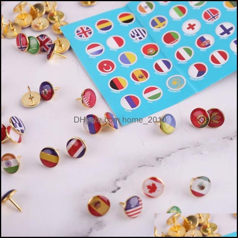 100 Pieces Creative Push Pins National Flag Thumb Tacks Country Map Push Pins for Bulletin Board, Map, Office (National Flag Pattern)