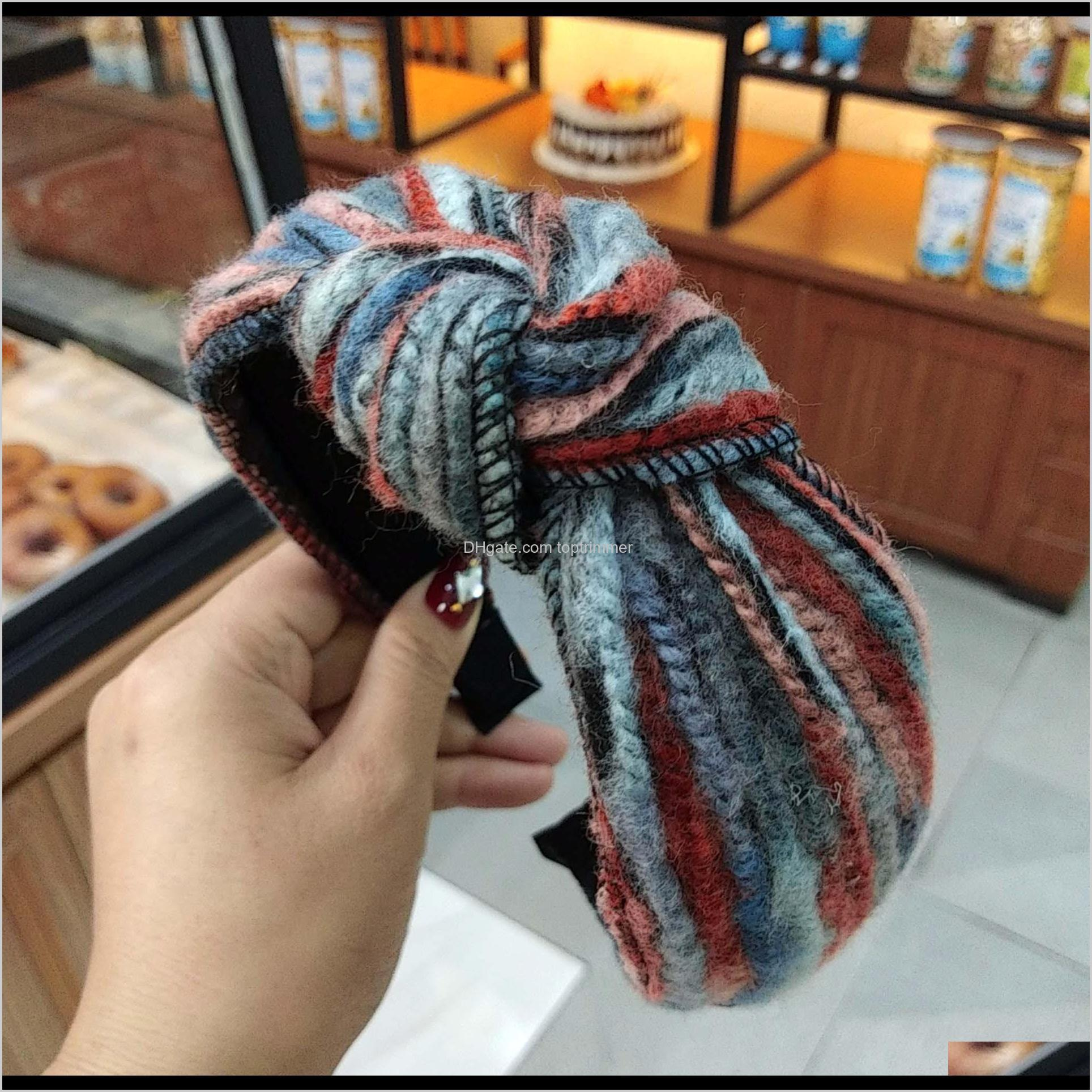 2019 south korea autumn and winter new color striped wool knotted headband wide side knitting hairpin high-end pressure hairband