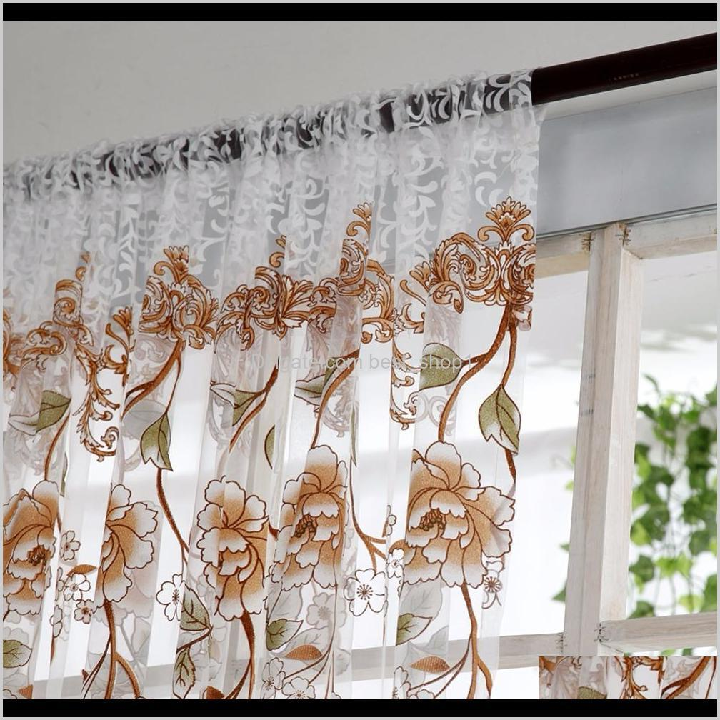 home office window curtain flower print divider tulle voile drape panel sheer scarf valances curtains home decor