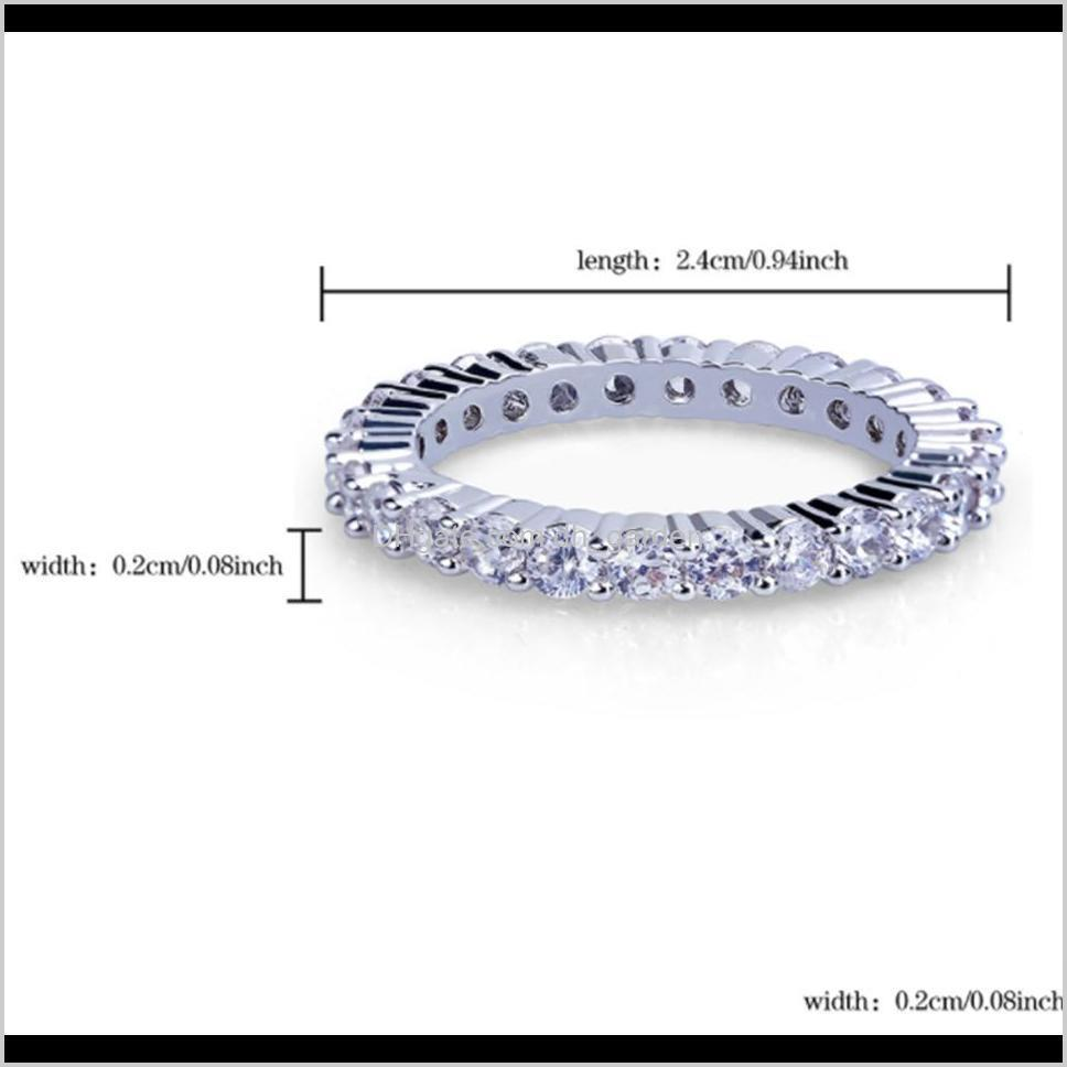new white gold plated full cz zirconia tennis finger rings diamond hip hop rock rapper jewelry gifts for men and women size 8-11