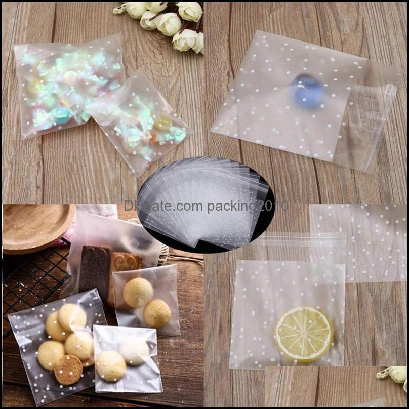 Pcs Candy Bag Clear Cookie Bags Party Favor Self-Adhesive Sealing White Polka Dot Plastic Gift Wrap