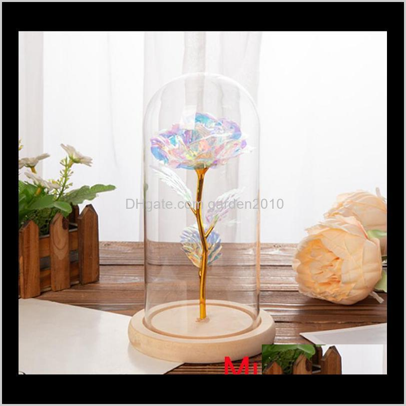 13 colour red rose in a glass dome on a wooden base for valentine`s gifts led rose lamps christmas1