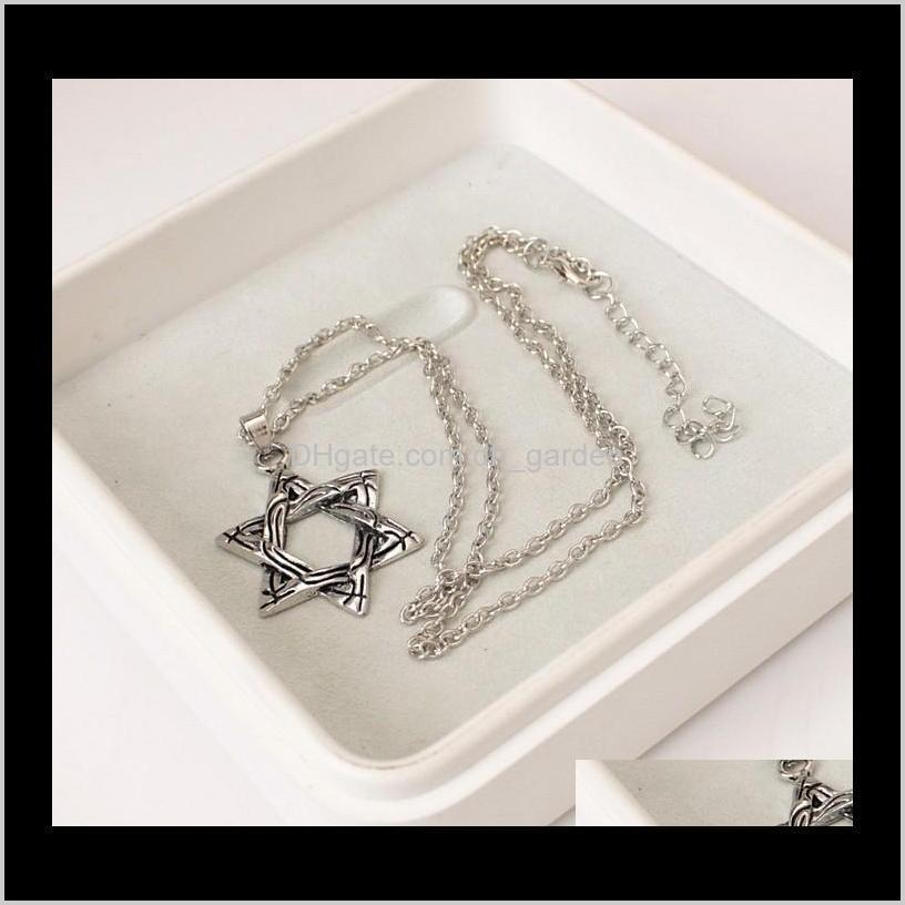 european and american style titanium stainless star of david six-pointed star steel men`s necklace punk style retro style