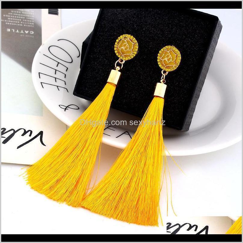 boho crystal long tassel drop earrings for women ethnic geometric rose flower sign dangle statement earring 2019 fashion jewelry in